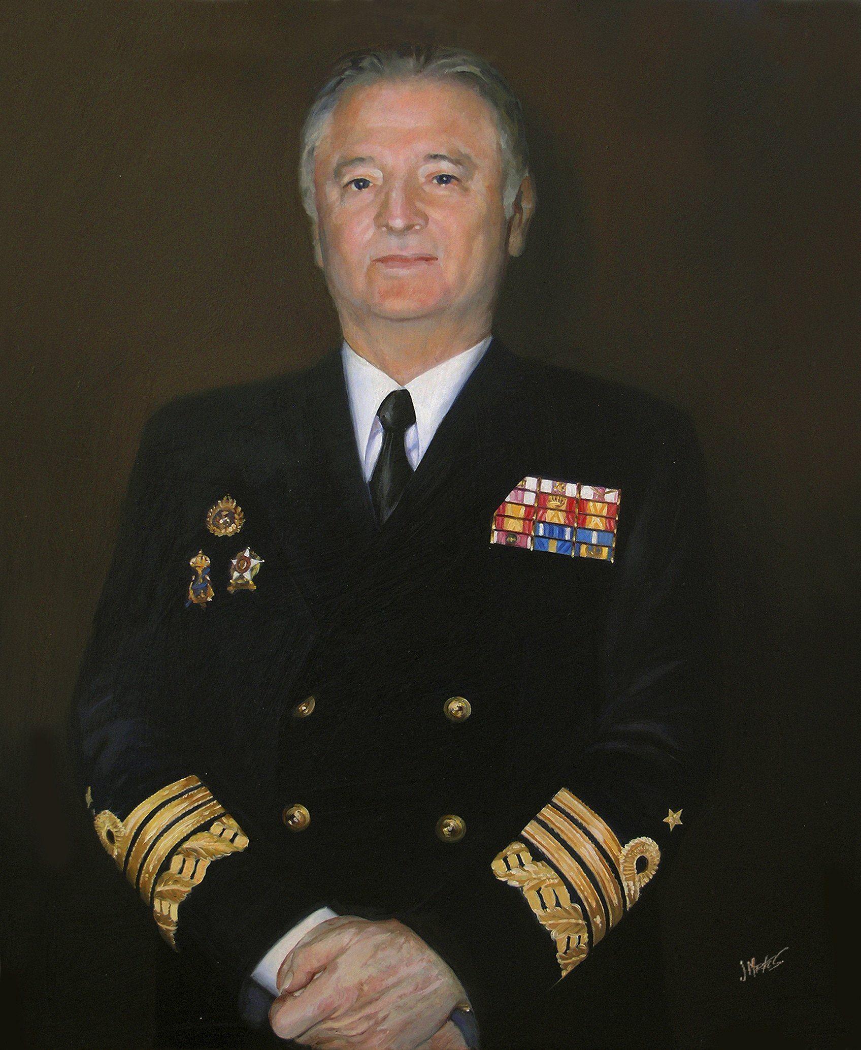 retrato al óleo autoridad naval