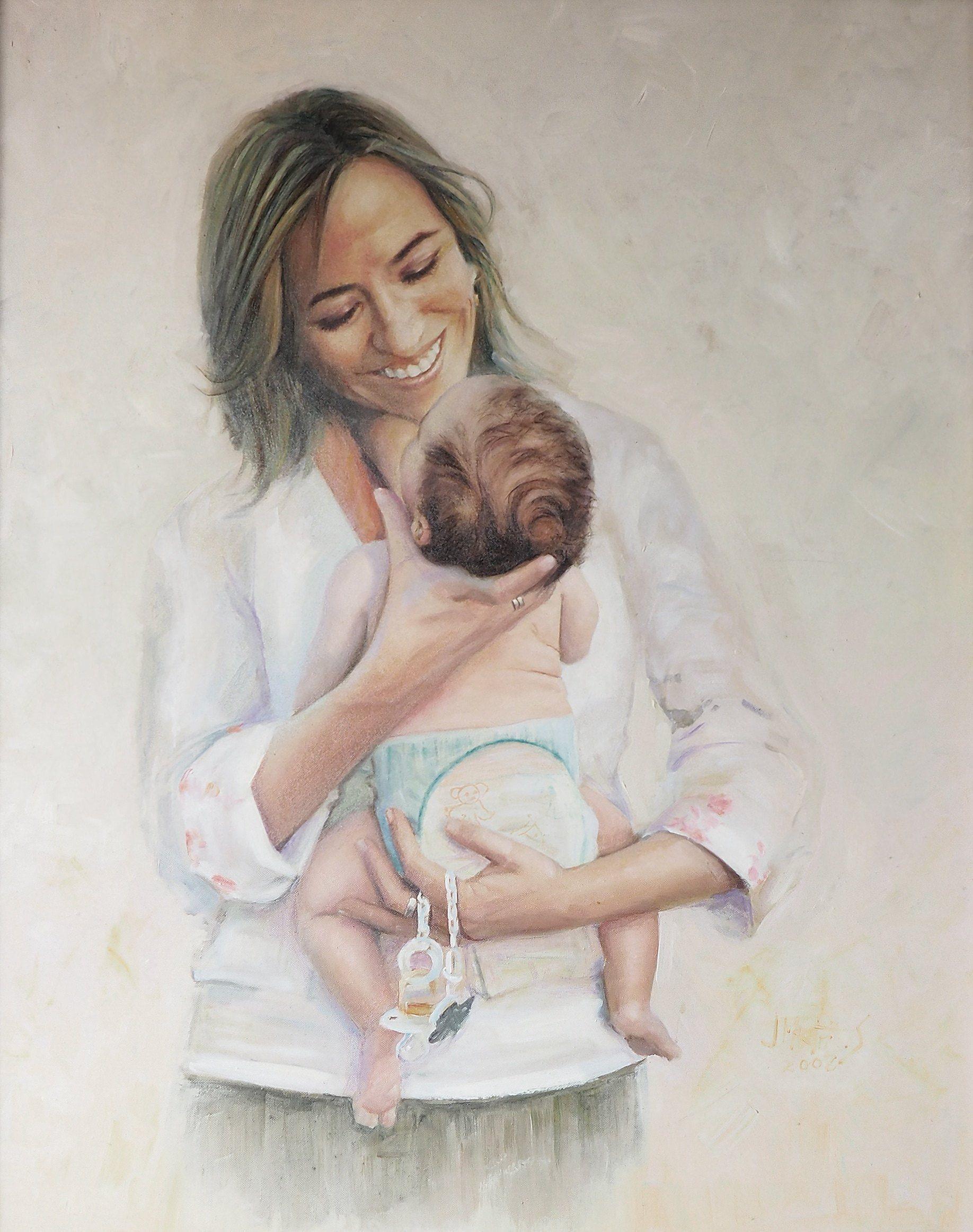 maternidad al óleo
