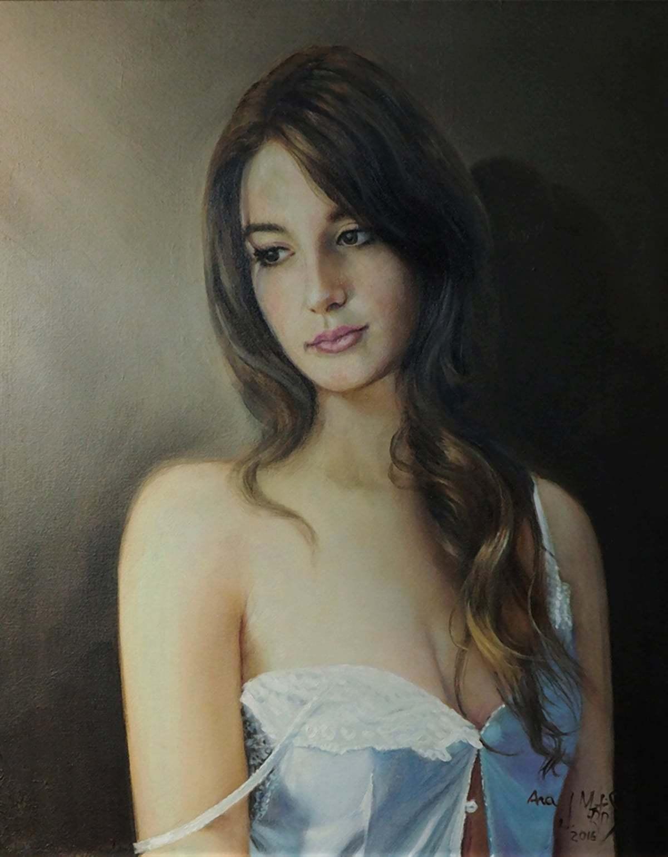 mujer retratada al óleo