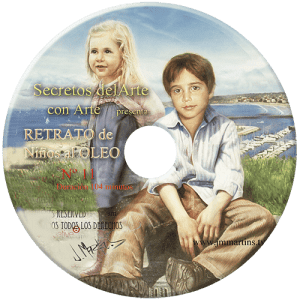 retrato de niños al óleo