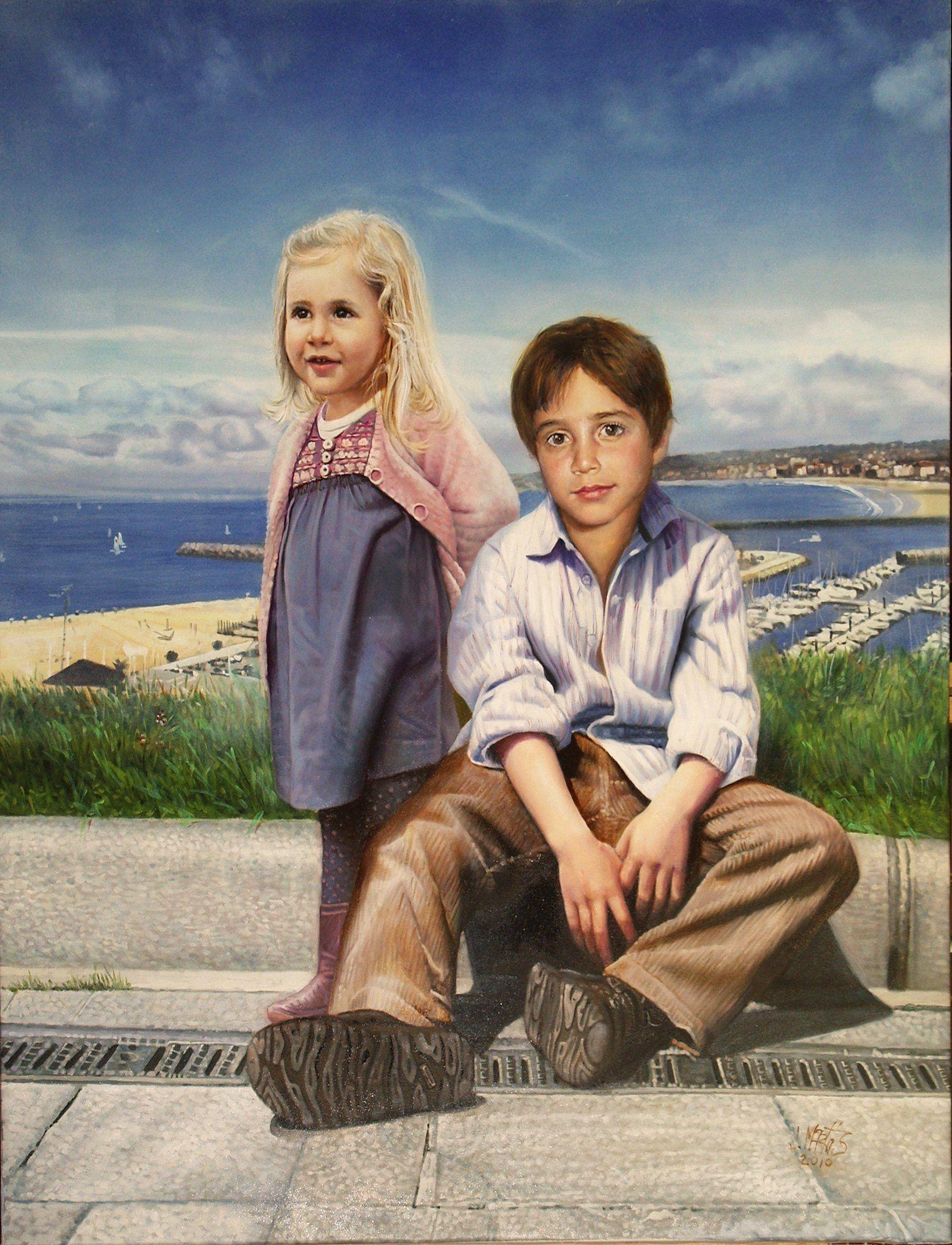 pintar niños al óleo