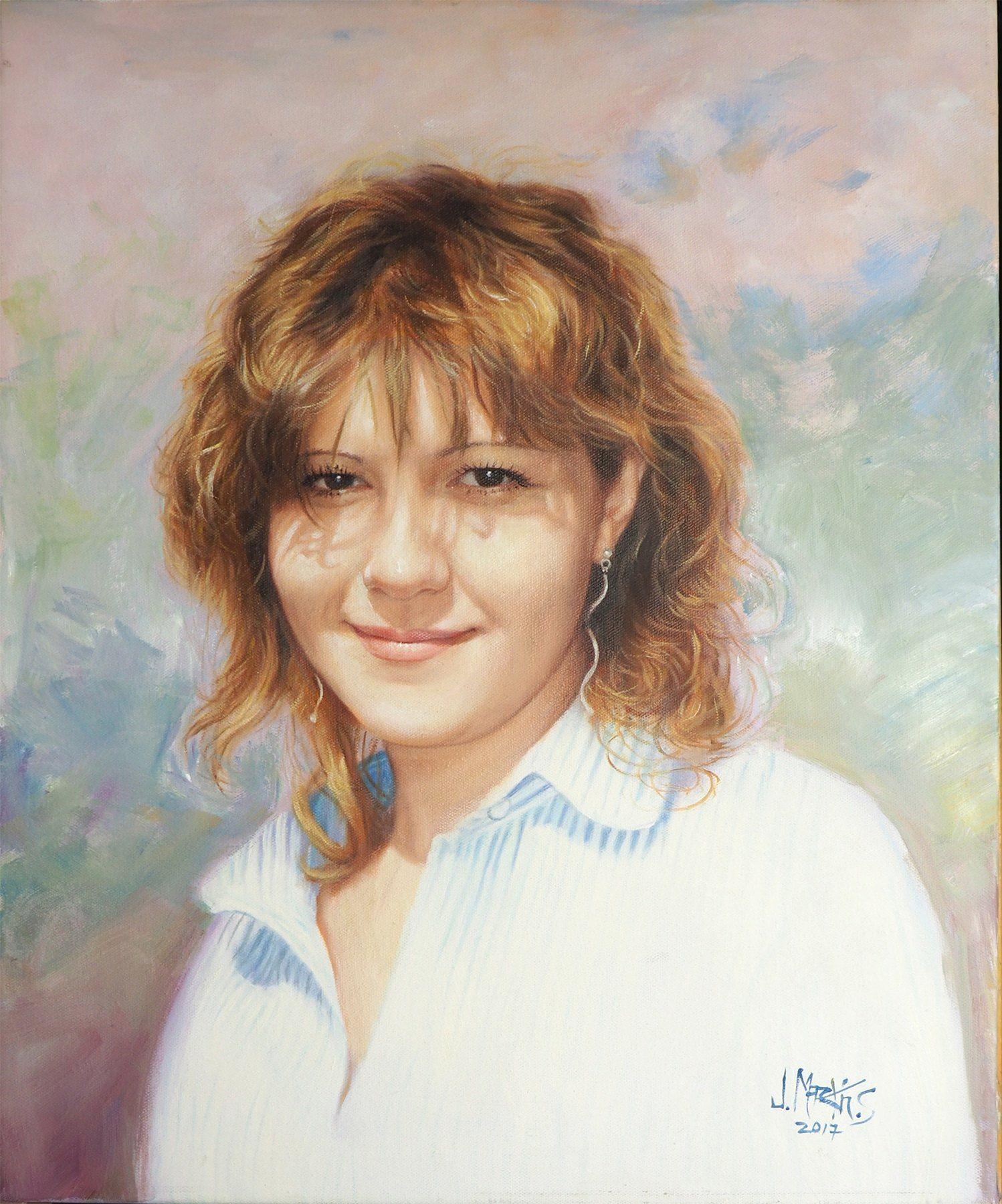 retrato de joven al óleo